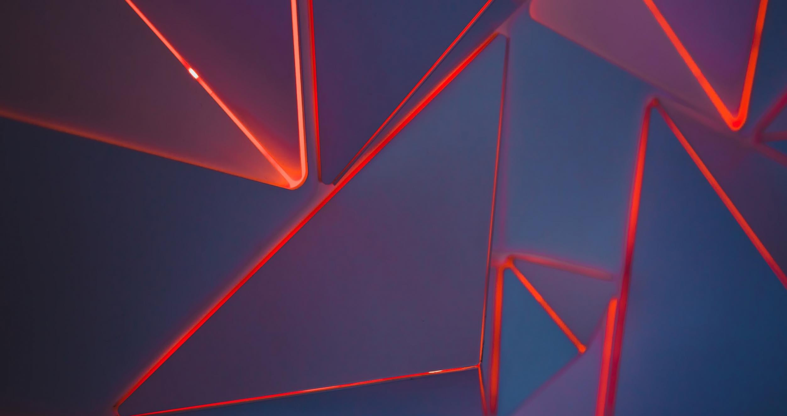 Abstract Red Lights on Blue Background
