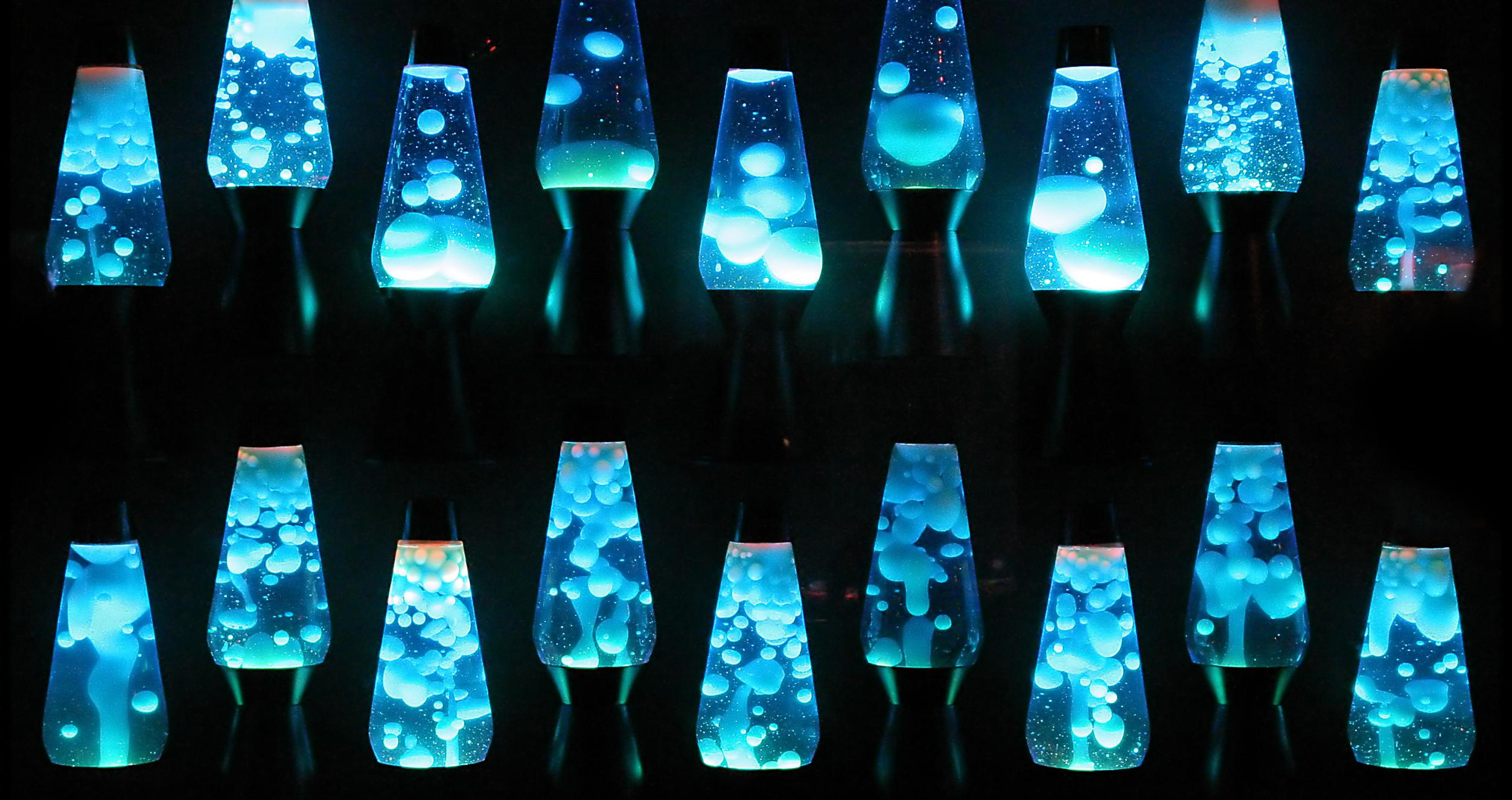 Row of blue lavalamps