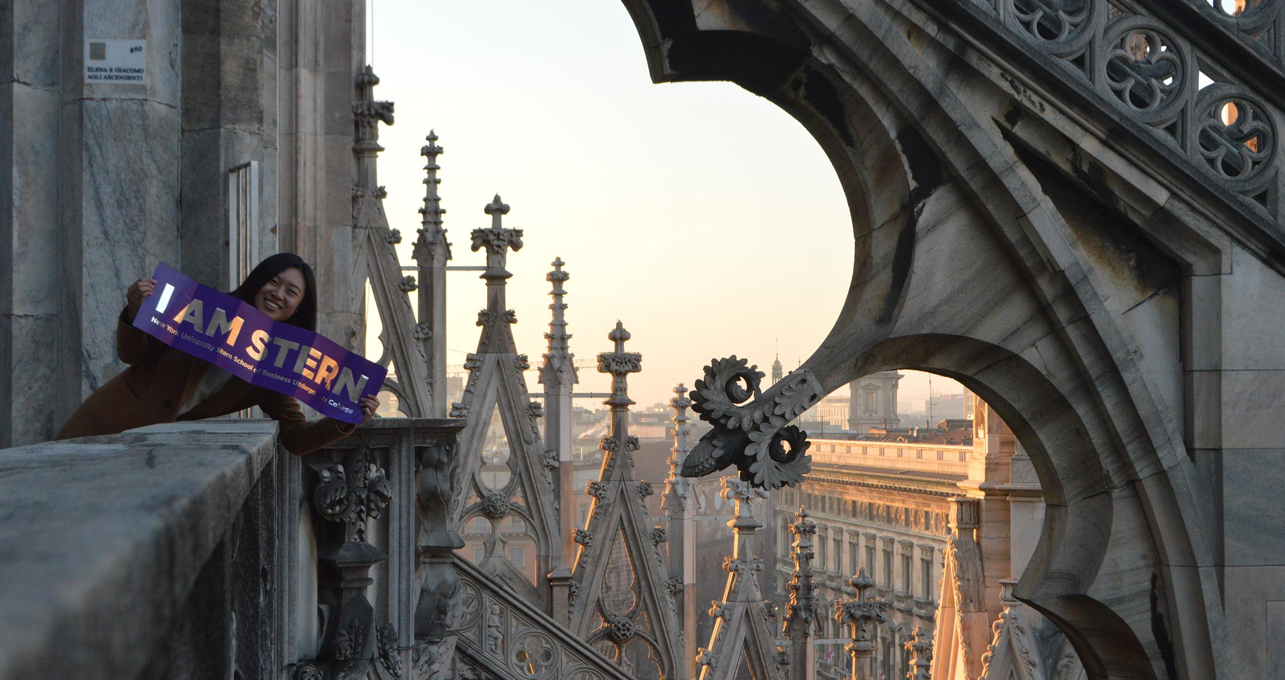 NYU Stern student Jessica Guo poses for a photo at the Duomo in Milan, Italy