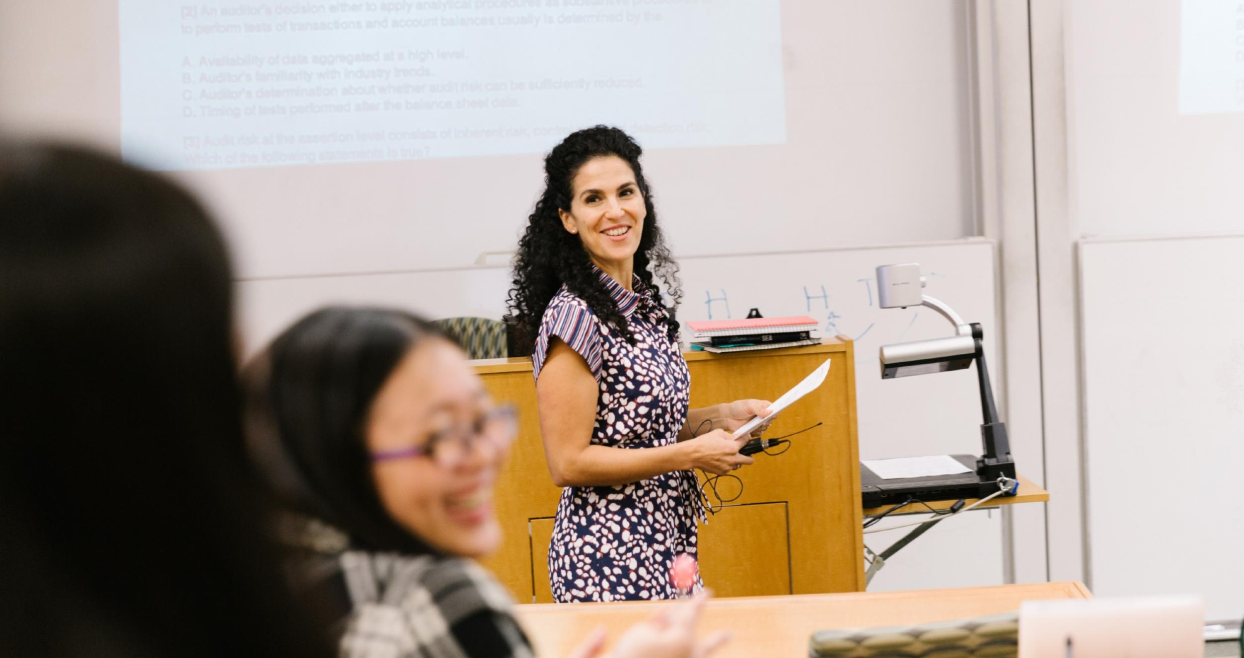 Professor Amal Shehata teaches in a classrom