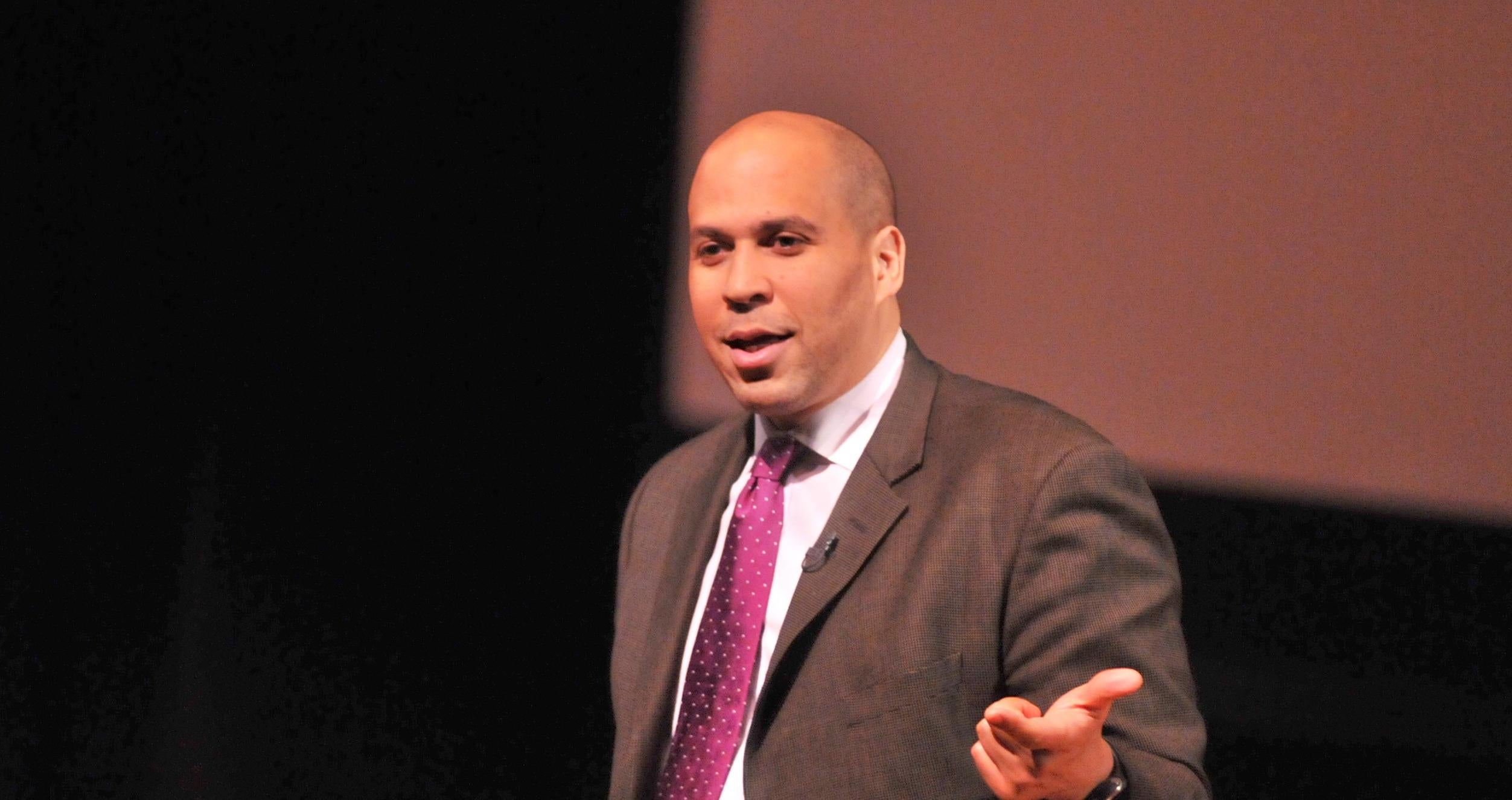 U.S. Senator Cory Booker speaks to freshmen