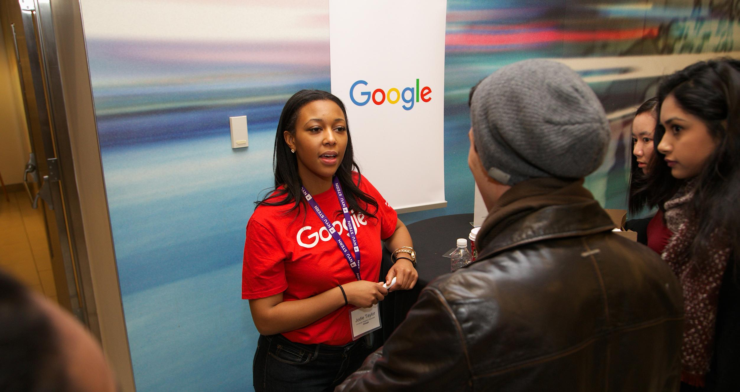 Google recruiter speaking with students at Stern Exchange event