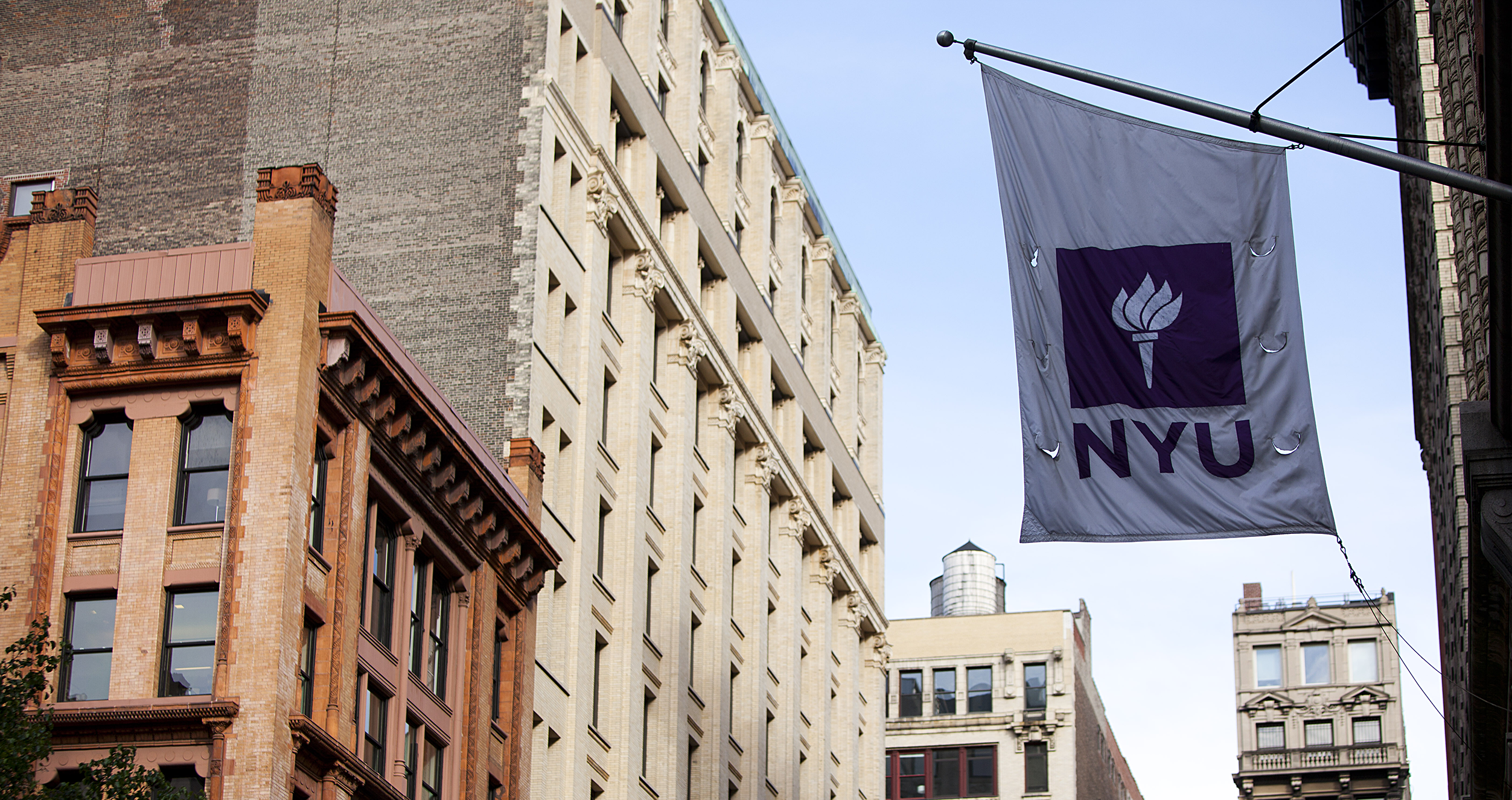 NYU Stern flag on NYU's New York City campus