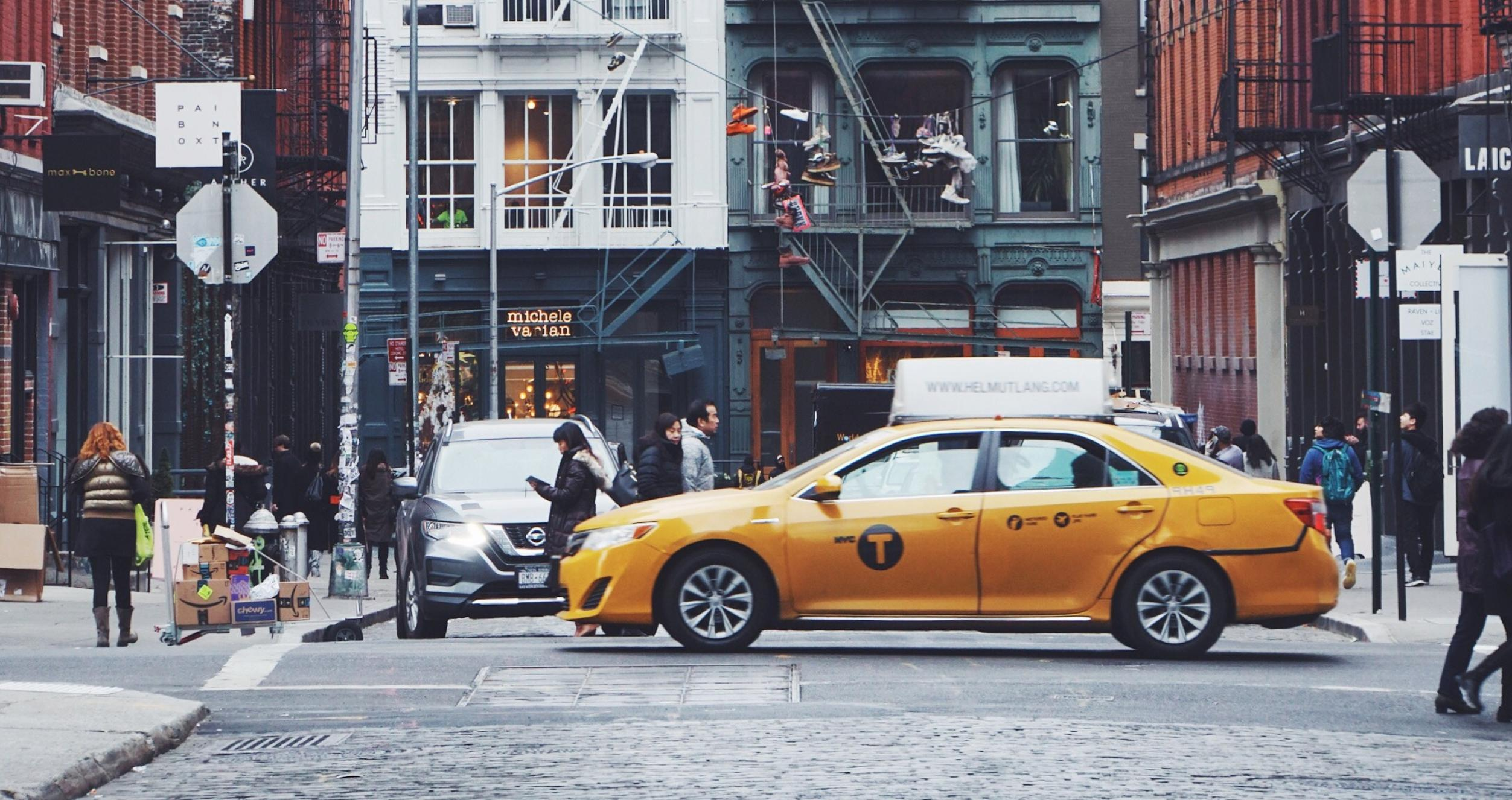 Photo downtown NYC of cab by photographer Heather Shevlin