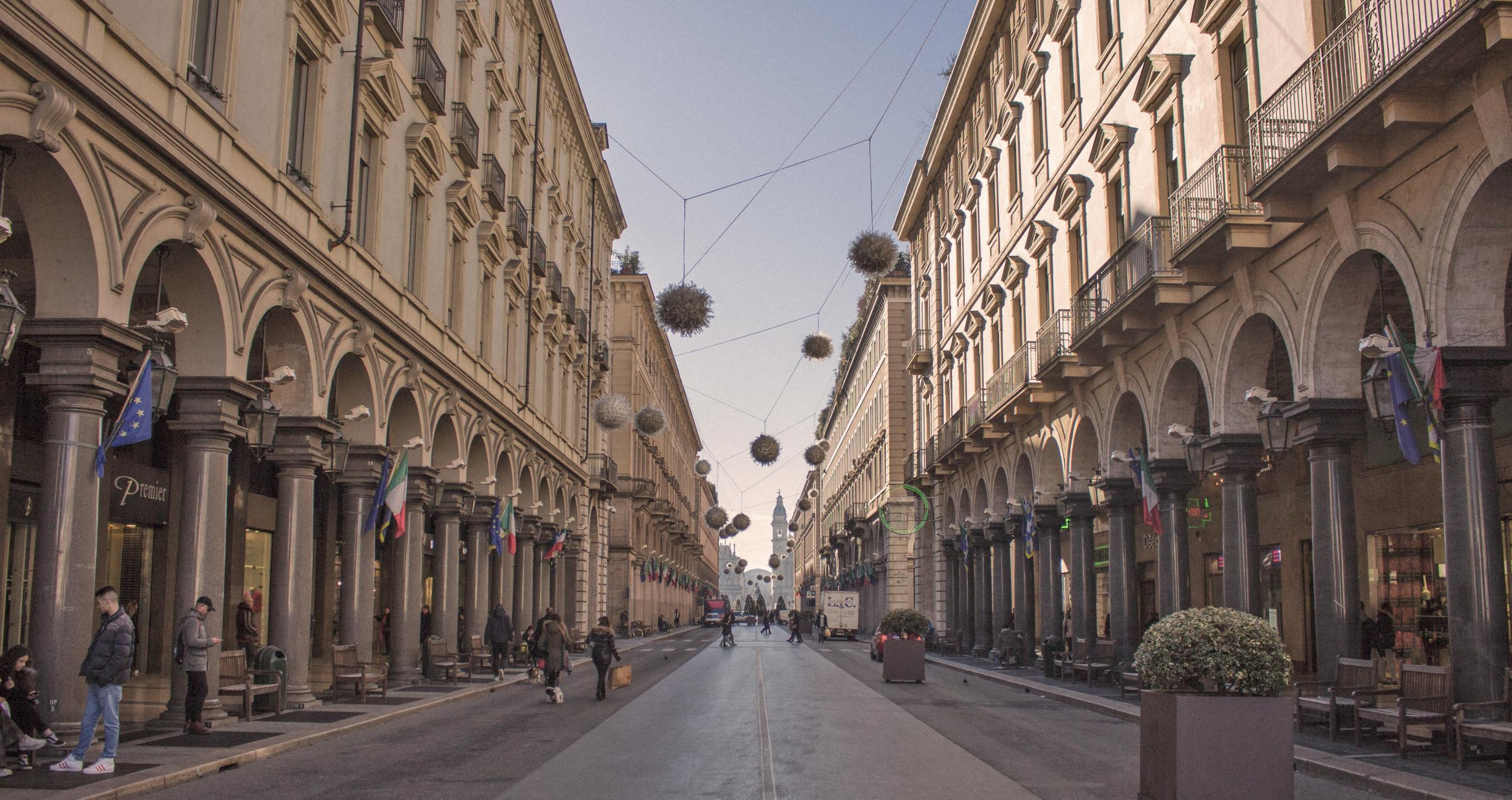 Photo os street in the metropolitan city of Turin, Italy