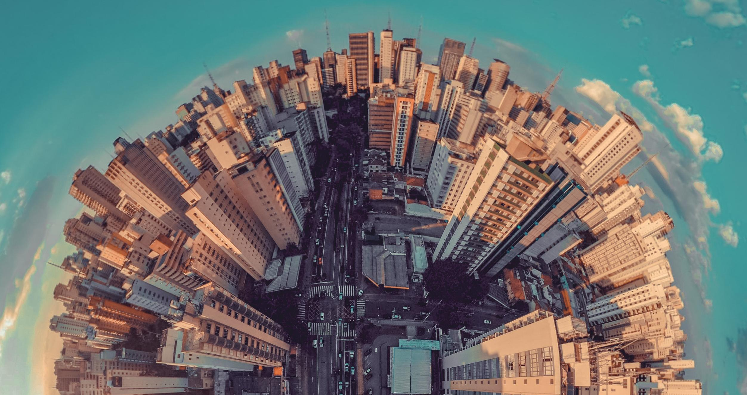 Fisheye city from above