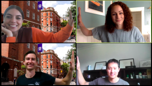 "Team ""Stern Social"" shares a virtual high-five"