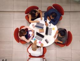 Bird's eye view of students working together
