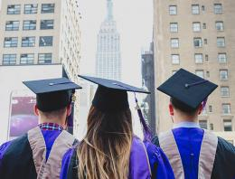 Graduates in front of the Empire State Building