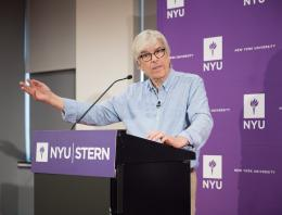 Paul Romer addresses the Stern community after winning the Nobel Prize in Economic Sciences