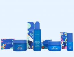 Aavrani skincare product collection in blue packaging