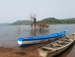 Two boats on a lake in Ghana
