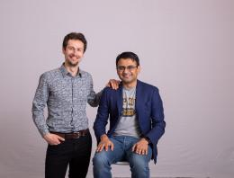 This is an image of two founders posing for a team photo.