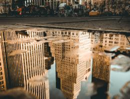 Reflection of buildings in NYC