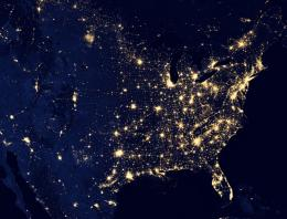 Satellite image of the US lit up at night