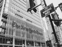 black and white photo of The New York Times building in New York City