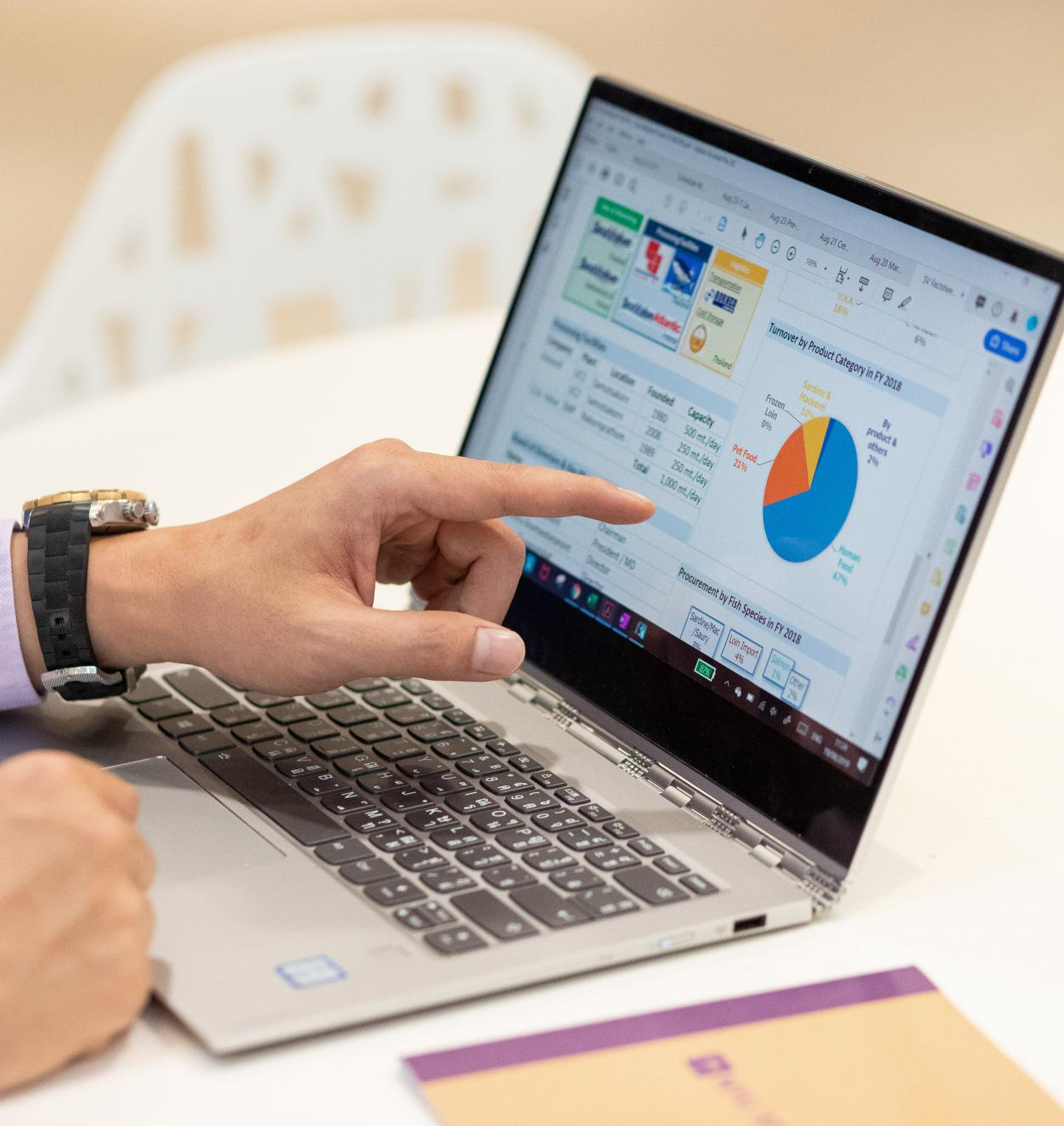 man pointing to laptop screen which displays various colorful charts and graphs.
