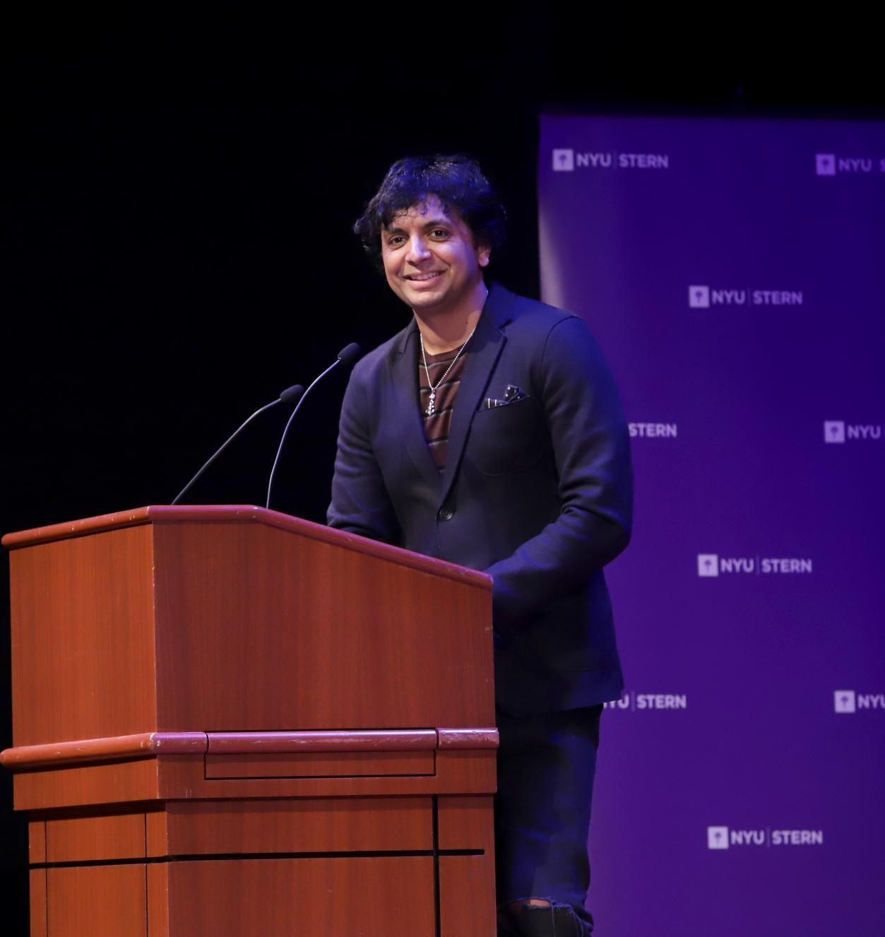 M. Night Shyamalan speaks at the 2019 Sani Lecture