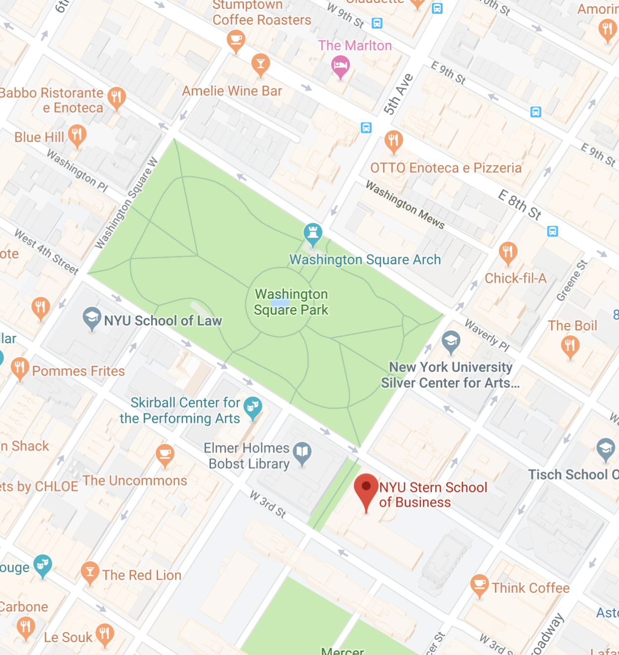 Map showing the location of NYU Stern School of Business