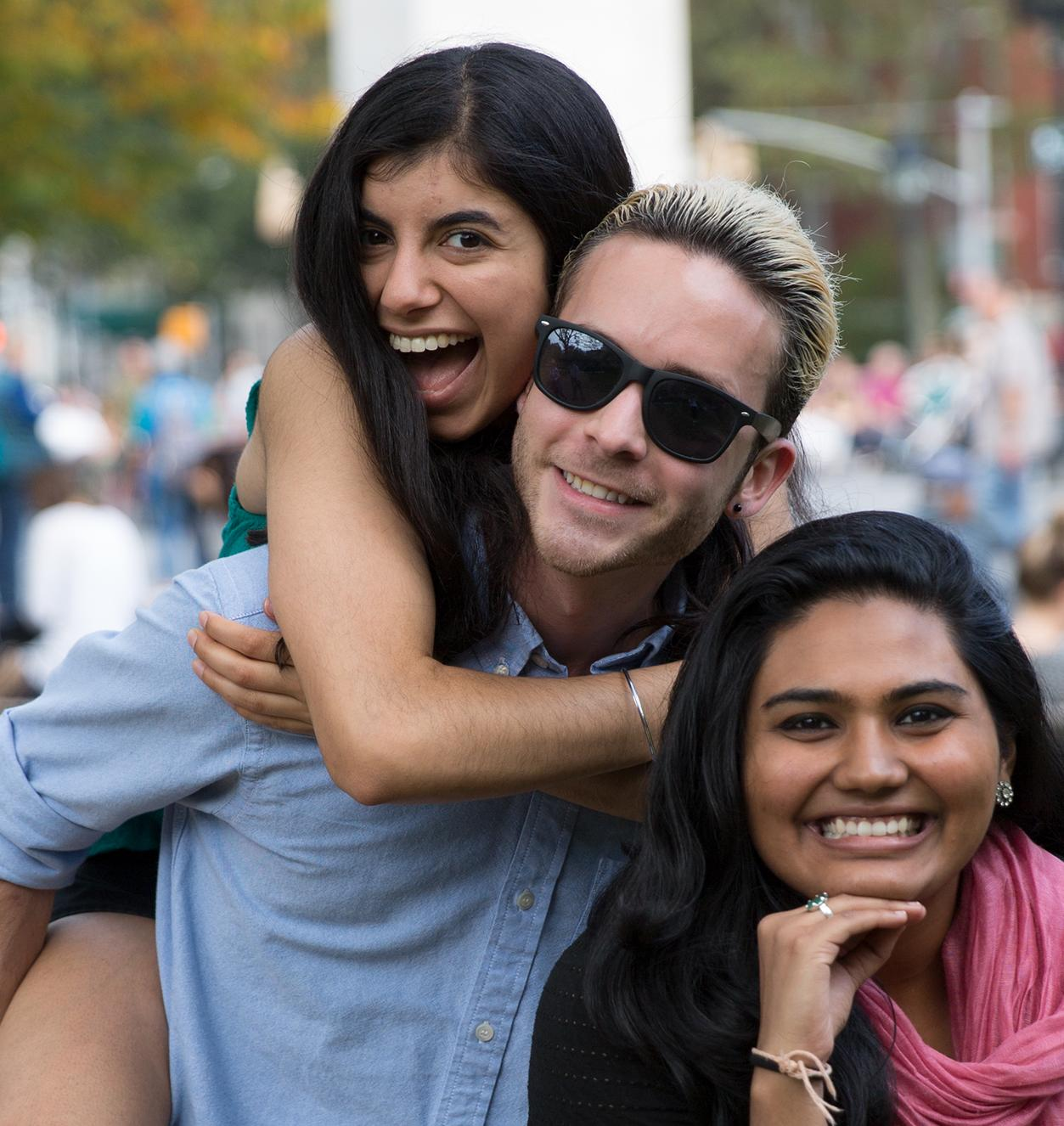 Matt Wilson with friends posing in Washington Square Park