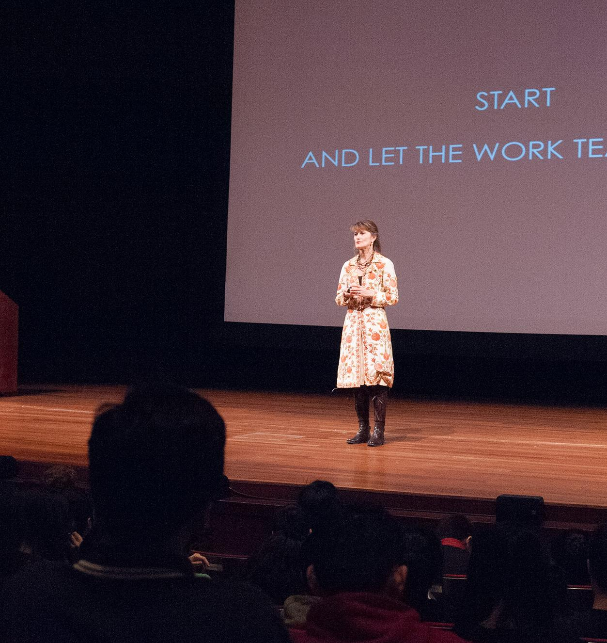 Jacqueline Novogratz, Founder and Chief Executive Officer at Acumen, speaking on March 10, 2014 to Stern freshmen on the topic of