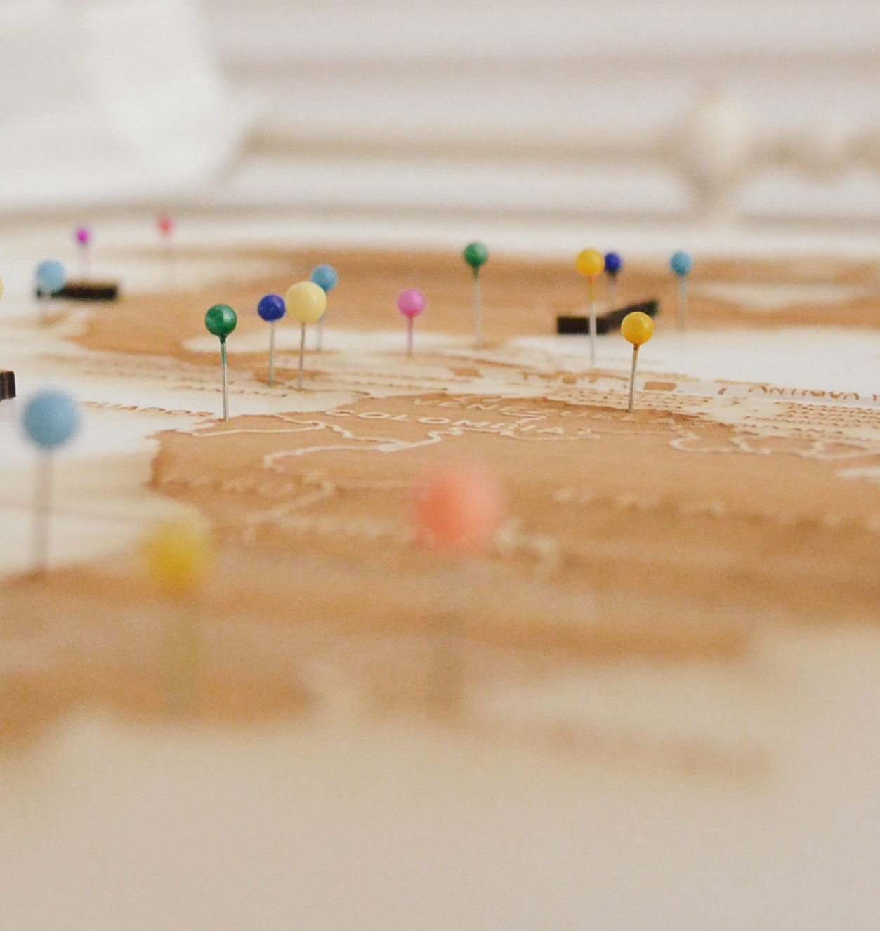 Pins on a map