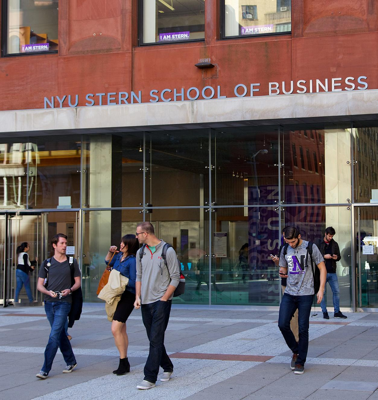 NYU Stern outside with people