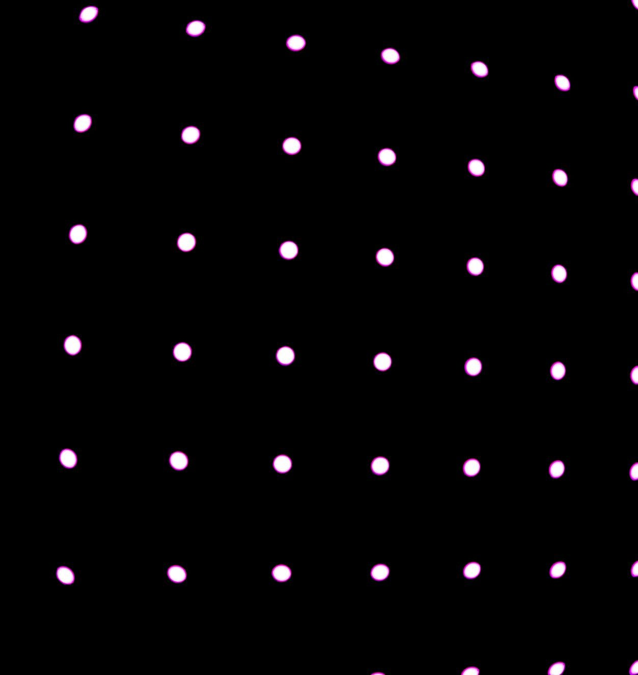 Bright dots in grid formation on black background