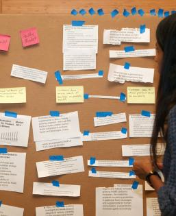 Student looking at cardboard with post-it notes and papers taped to the front