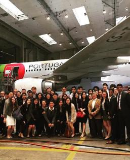 Students attend a company visit in Portugal while studying on ISP.