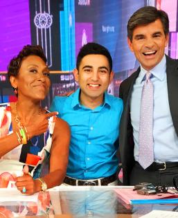 Shohbit Jain, a student in the BS/BFA program, on the set of his internship at Good Morning America with hosts Robin Robers and George Stephanopoulos