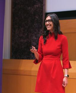 Trisha Goyal (BS '15) speaks at SternTalks about creating her dream career
