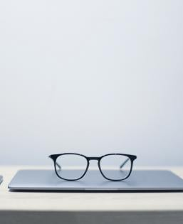 computer and glasses photo