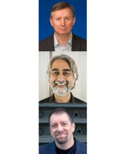 Headshots of Charles Elkan, Vasant Dhar, and Foster Provost