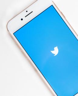 Smartphone with the Twitter logo on the screen